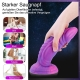 Hismith Purple Starry Animal Dildo, Realistic Dildo, 8 Inch Curved Huge Silicone Dildo With Suction Cup